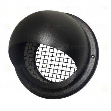 Sferinės formos antgalis oro įsiurbimui ar išmetimui per fasadą - juodas